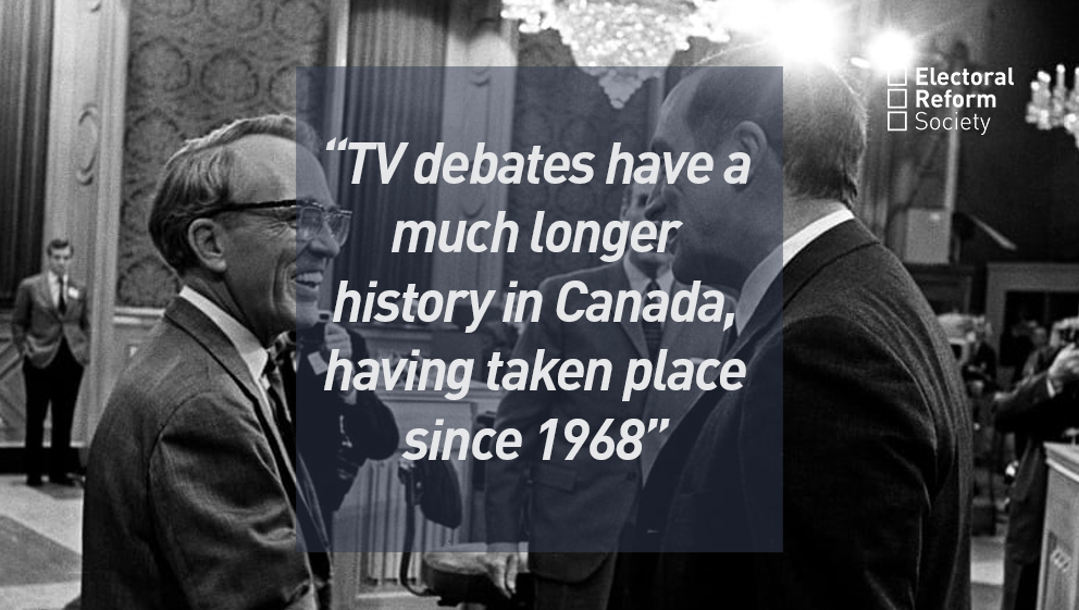 TV debates have a much longer history in Canada, having taken place since 1968