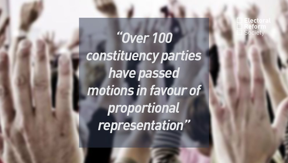 Over 100 constituency parties have passed motions in favour of proportional representation
