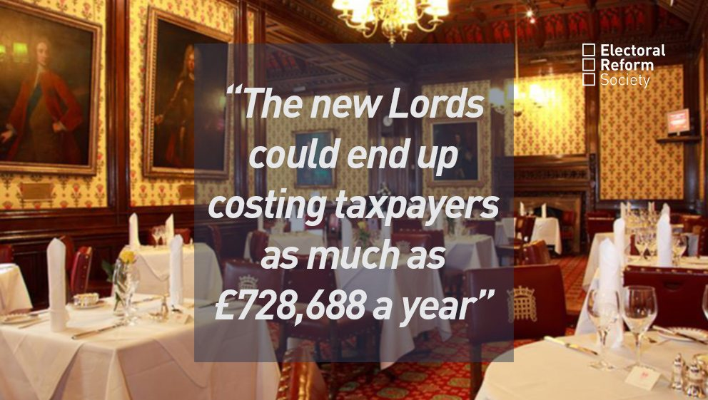 The new Lords could end up costing taxpayers as much as £728,688 a year