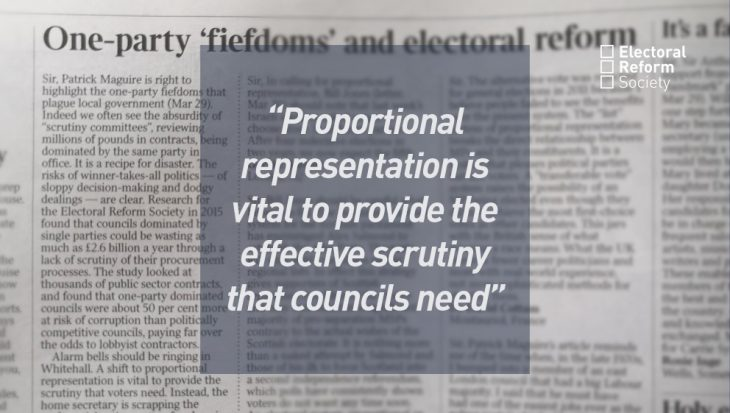 Proportional representation is vital to provide the effective scrutiny that councils need