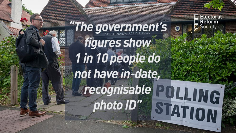 The government's figures show 1 in 10 people do not have in-date, recognisable photo ID